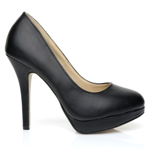 EVE Black PU Leather Stiletto High Heel Platform Court Shoes
