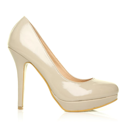EVE Nude Patent PU Leather Stiletto High Heel Platform Court Shoes