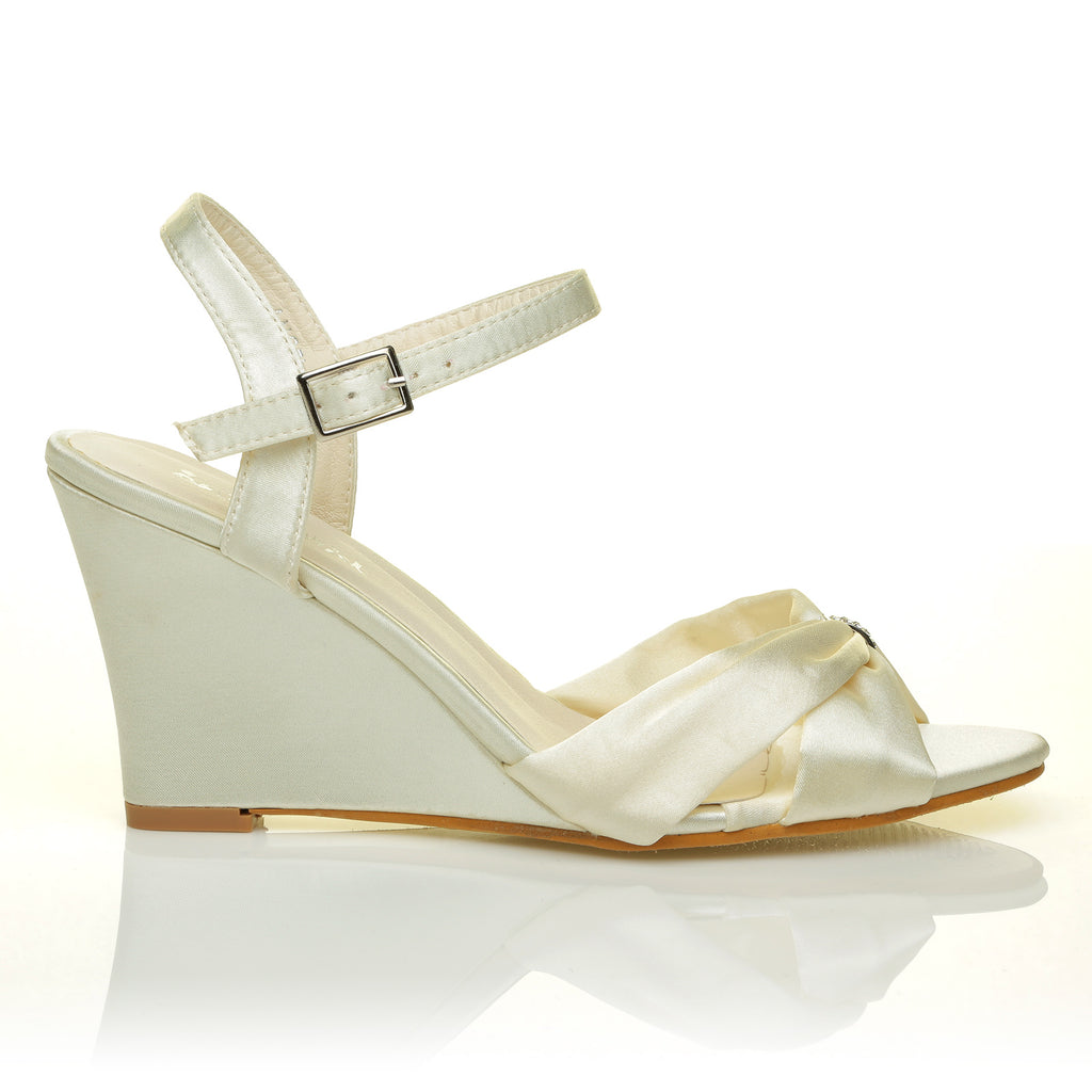 7aae50cd657 ANGEL Ivory Satin Wedge High Heel Strappy Bridal Shoes