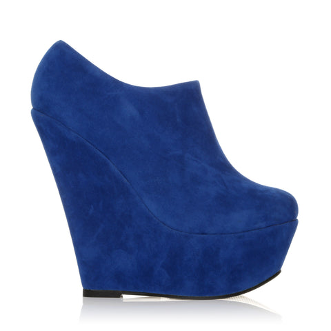 TINA Electric Blue Faux Suede Wedge Very High Heel Platform Ankle Shoe Boots