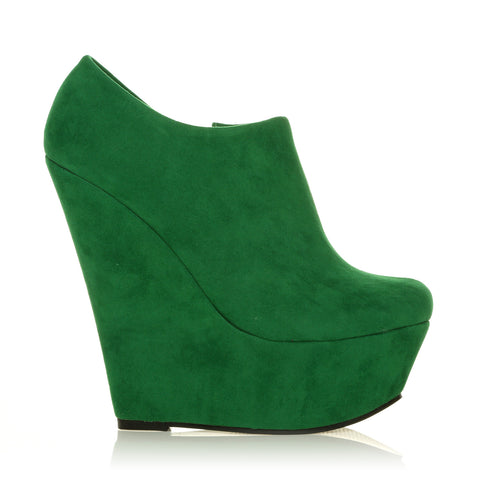 TINA Green Faux Suede Wedge Very High Heel Platform Ankle Shoe Boots