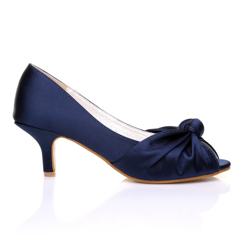 PARIS Navy Satin Kitten Medium Heel Bridal Peeptoe Shoes