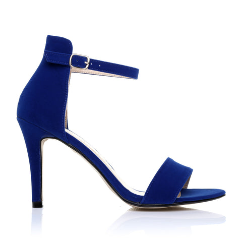 PAM Midnight Blue Suede Ankle Strap Barely There High Heel Sandals