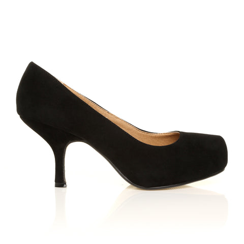 ADA Black Faux Suede Kitten Mid Heel Classic Court Shoes