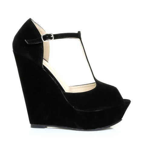 VICKY Black Faux Suede T-Bar Peep Toe Platform Wedge Sandals
