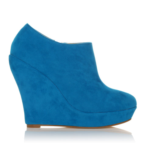 H051 Turquoise Faux Suede Wedge Very High Heel Platform Shoes