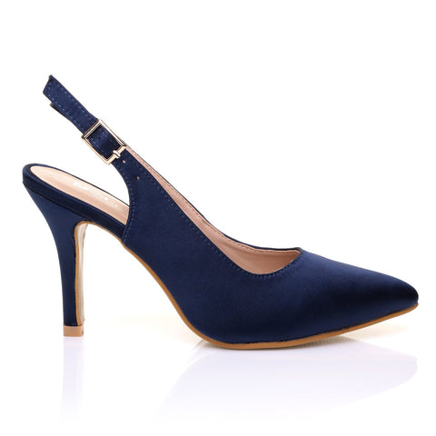 FAITH Navy Satin Stiletto High Heel Slingback Bridal Court Shoes