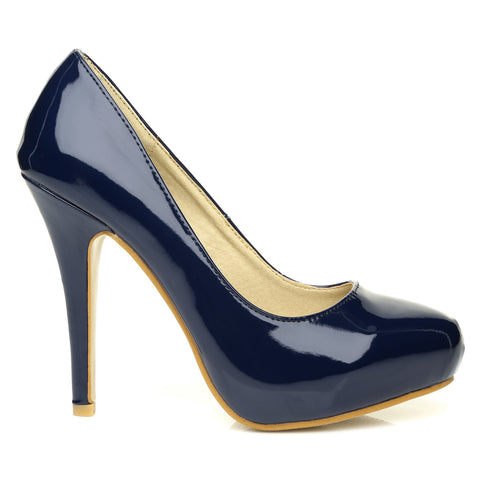 H251 Navy Patent PU Leather Stiletto High Heel Concealed Platform Court Shoes