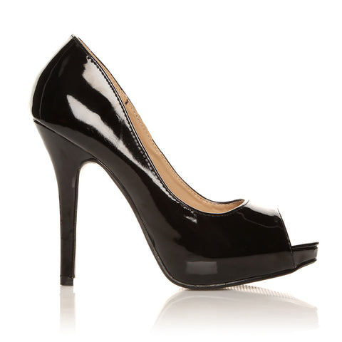 TIA Black Patent PU Leather Stiletto Very High Heel Platform Peep Toe Shoes