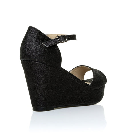 LACIE Black Glitter Wedge High Heel Platform Peep Toes