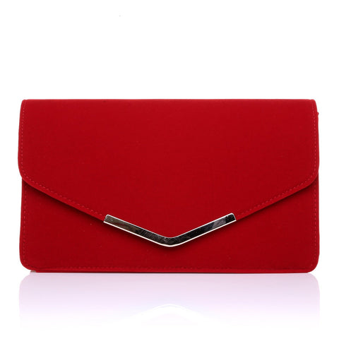 LUCKY Red Suede Medium Size Clutch Bag