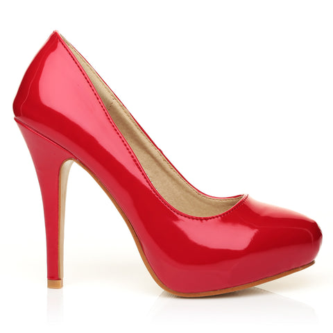 H251 Red Patent PU Leather Stiletto High Heel Concealed Platform Court Shoes