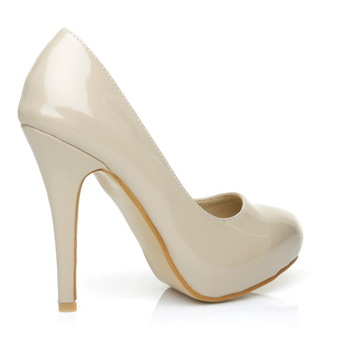 H251 Nude Patent PU Leather Stiletto High Heel Concealed Platform Court Shoes