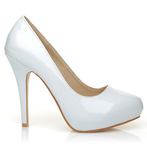 H251 White Patent PU Leather Stiletto High Heel Concealed Platform Court Shoes