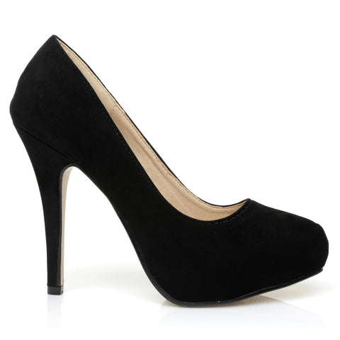 H251 Black Suede Stiletto High Heel Concealed Platform Court Shoes
