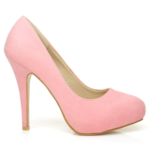 H251 Baby Pink Suede Stiletto High Heel Concealed Platform Court Shoes