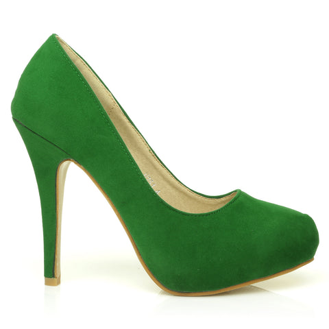 H251 Green Suede Stiletto High Heel Concealed Platform Court Shoes