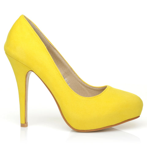 H251 Yellow Suede Stiletto High Heel Concealed Platform Court Shoes