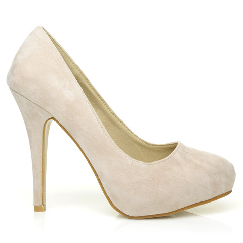 H251 Nude Suede Stiletto High Heel Concealed Platform Court Shoes