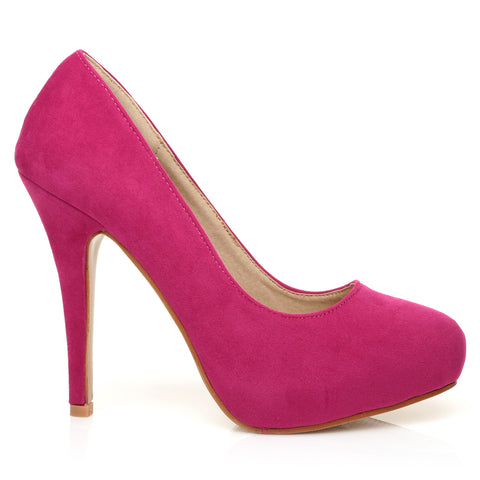 H251 Fuchsia Suede Stiletto High Heel Concealed Platform Court Shoes