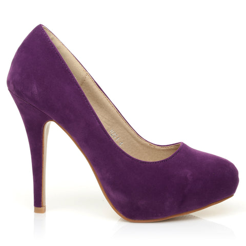 H251 Purple Suede Stiletto High Heel Concealed Platform Court Shoes