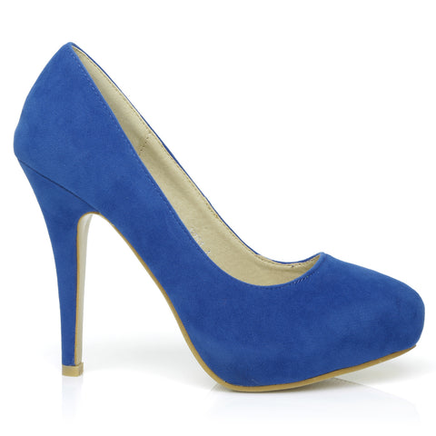 H251 Royal Blue Suede Stiletto High Heel Concealed Platform Court Shoes