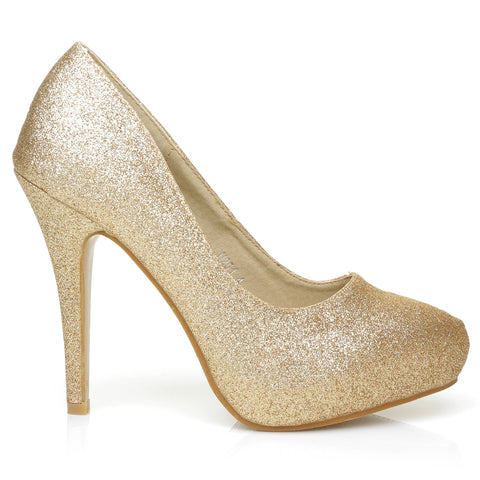 H251 Champagne Gold Glitter Stiletto High Heel Concealed Platform Court Shoes