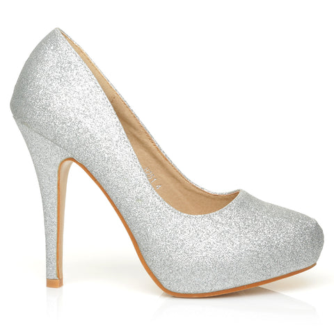 H251 Silver Glitter Stiletto High Heel Concealed Platform Court Shoes