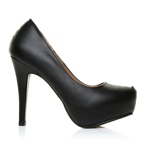 H251 Black PU LeatherStiletto High Heel Concealed Platform Court Shoes
