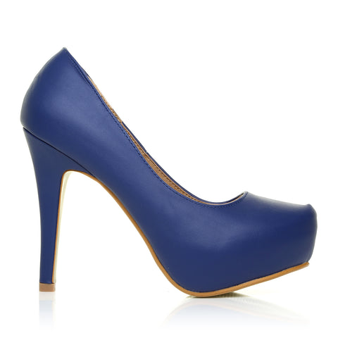 H251 Navy PU Leather Stiletto High Heel Concealed Platform Court Shoes