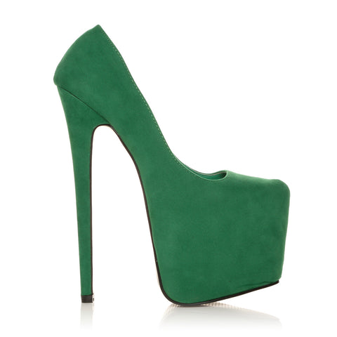 H7 Green Faux Suede Stiletto Very High Heel Platform Court Shoes