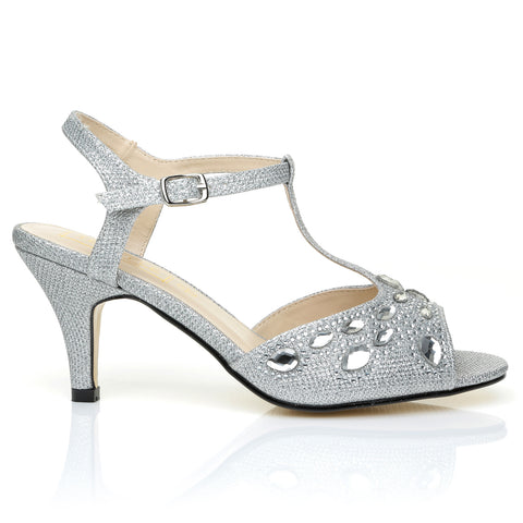 GABY Silver Mesh Glitter Diamante Ankle Strap Barely There Medium Heel Sandals