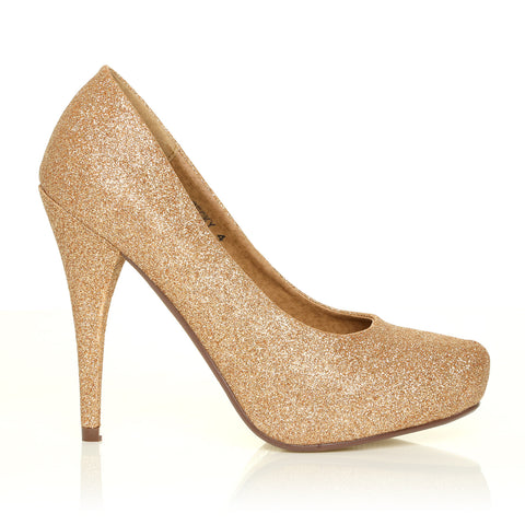 BECKY Gold Glitter Stiletto High Heel Concealed Platform Court Shoes