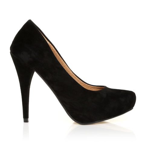 Becky Black Suede Stiletto High Heel Concealed Platform Court Shoes