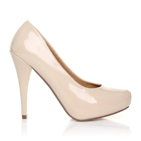 BECKY Nude Patent PU Leather Stiletto High Heel Concealed Platform Court Shoes
