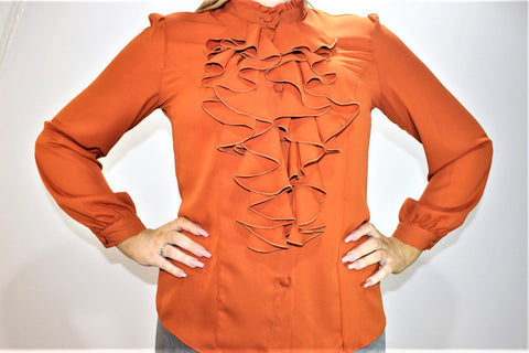 Long Sleeve Rust Chiffon Frill Top