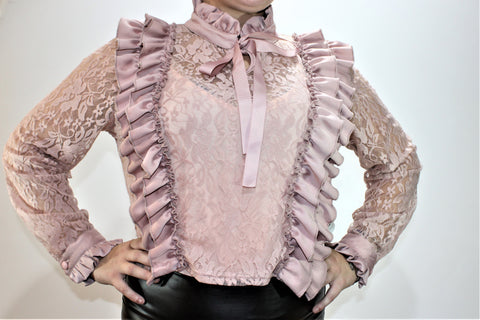 Long Sleeve Crochet D.Pink Ribbon Top