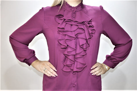 Long Sleeve Magenta Chiffon Frill Top