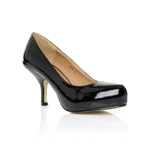 ADA Black Patent PU Leather Kitten Mid Heel Classic Court Shoes
