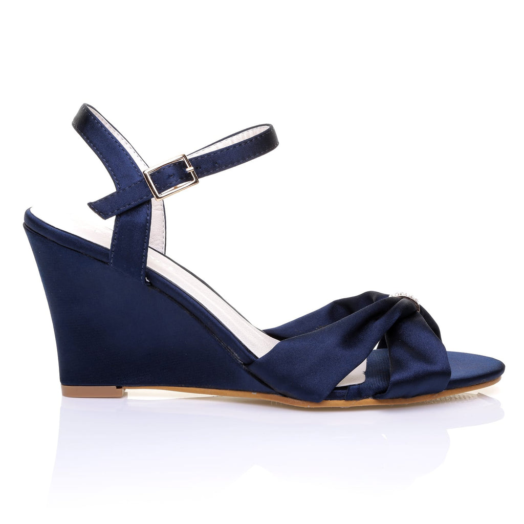 Angel Navy Blue Satin Wedge High Heel Strappy Bridal Shoes