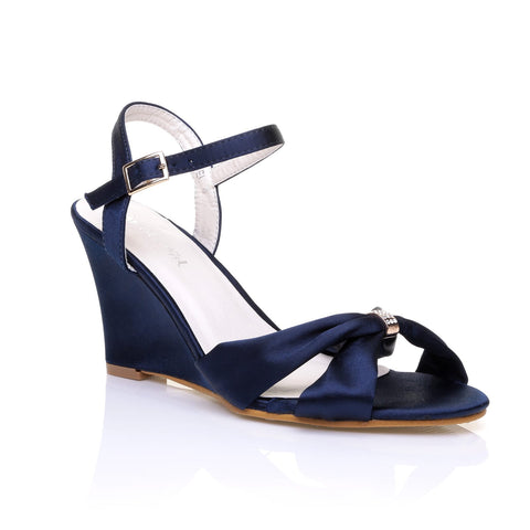 ANGEL Navy Blue Satin Wedge High Heel Strappy Bridal Shoes - ShuWish.com