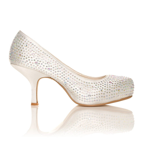 ANNIE White Satin Kitten Mid Heel Diamante Evening Court Shoes - ShuWish.com