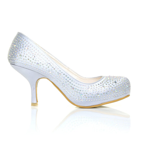 ANNIE Silver Satin Kitten Mid Heel Diamante Evening Court Shoes - ShuWish.com