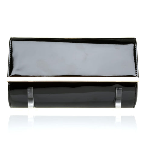 ATHENS Black Patent PU Leather Clutch Bag with Metallic Gold Trim - ShuWish.com