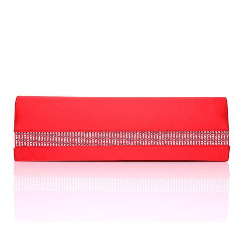 BAG 632 Red Satin Diamante Trim Clutch Bag