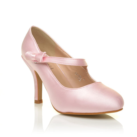 CHARLOTTE Baby Pink Satin High Heel Bridal Bow Mary Jane Shoes - ShuWish.com