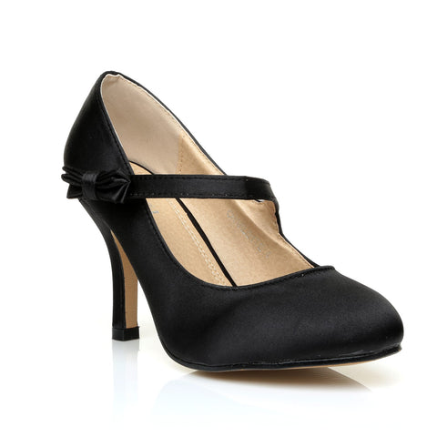 CHARLOTTE Black Satin High Heel Bridal Bow Mary Jane Shoes