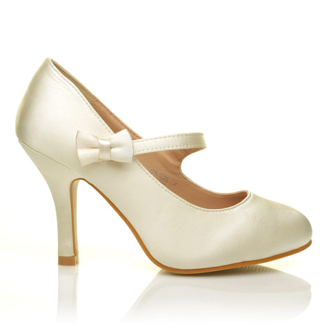CHARLOTTE Ivory Satin High Heel Bridal Bow Mary Jane Shoes - ShuWish.com