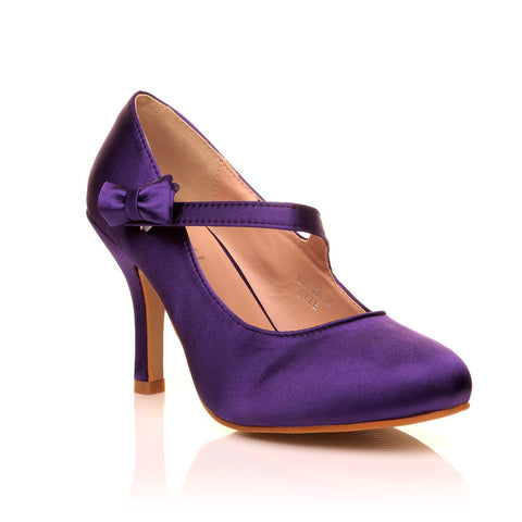 CHARLOTTE Purple Satin High Heel Bridal Bow Mary Jane Shoes - ShuWish.com