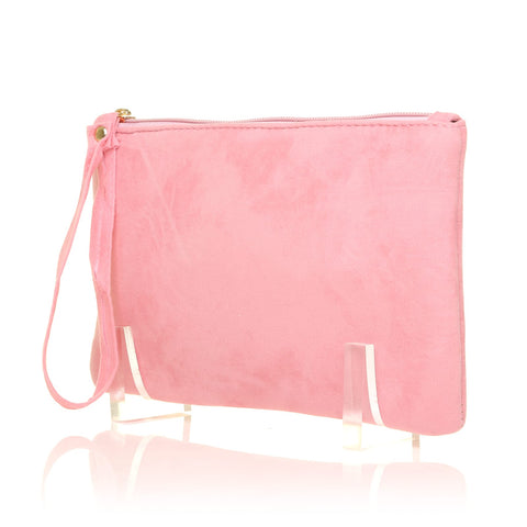 CHEEKY Baby Pink Faux Suede Clutch Bag/Purse With Wrist Strap - ShuWish.com